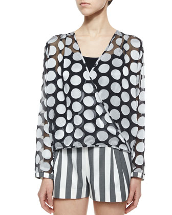 Epicentik Wisdom Polka-Dot Top, Black/White