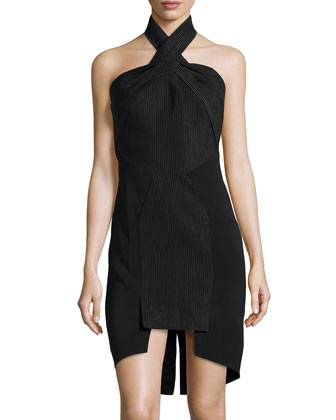 Solid/Pinstripe Cross-Neck Dress