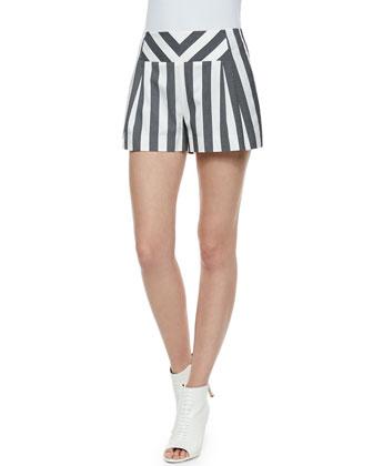 Corners Striped Chambray Shorts