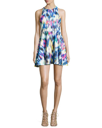 Waterfall-Print Scuba Fit-and-Flare Dress