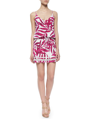 Palm-Print Tie-Waist Dress