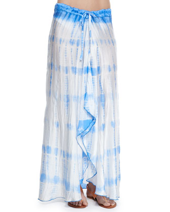 Gathered Halter Swim Top, Bottom & Salt Water Jewels Tie-Dye Maxi Skirt ...