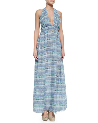 Striped Halter Maxi Dress