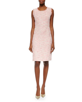 Sleeveless Boucle Sheath Dress