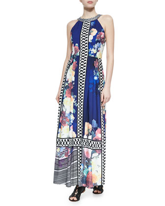 Beaded-Neck Floral-Print Maxi Dress, Bloom Navy
