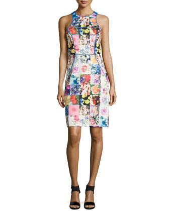 Sleeveless Floral-Print Sheath Dress, Multicolor