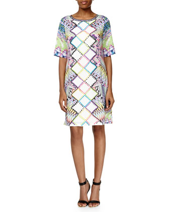 Geometric Mixed-Media Shift Dress