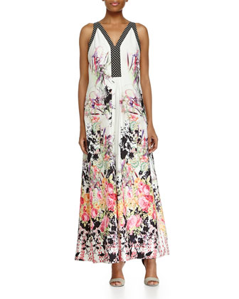 Sleeveless Floral-Print A-line Dress
