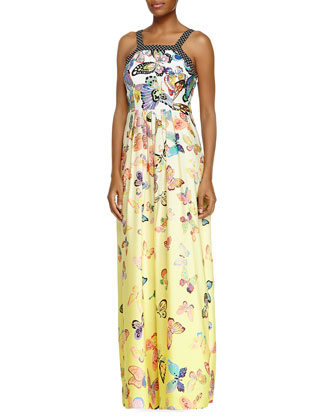 Sleeveless Butterfly Maxi Dress, Canary
