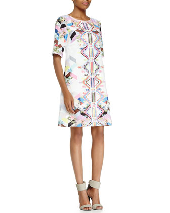 Half-Sleeve Geometric Shift Dress, Ibiza/Snow