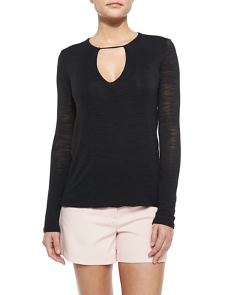Long-Sleeve Keyhole-Neck Top