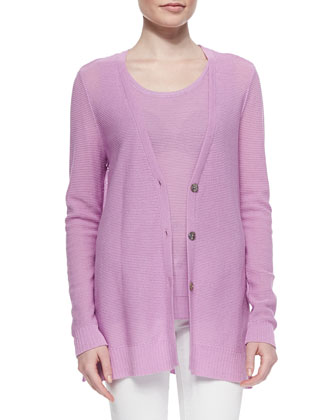 Long V-Neck Textured Cardigan