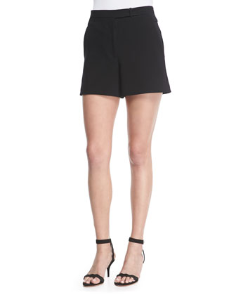 Sleeveless Cowl-Back Top & Structured Crepe Shorts
