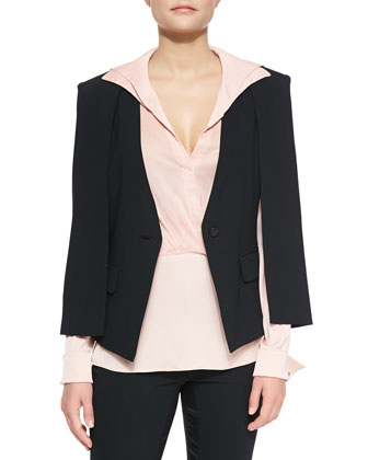 Jacket W/ Cape Detail, Long-Sleeve Draped-Front Shirt & Slim Satin-Trim ...