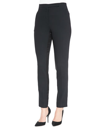 Slim Satin-Trim Ankle Pants