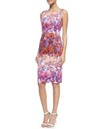 Shanna Floral Sheath Dress, Fuchsia/Multicolor