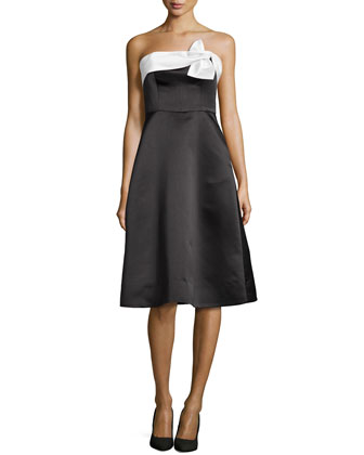 Strapless Bow-Top A-line Cocktail Dress