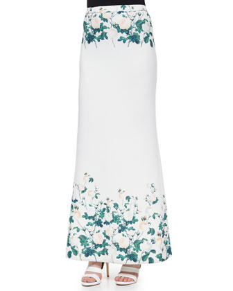 Long Floral-Printed Fluted Skirt