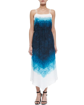 Scarf-Print Georgette Slip Dress, Blue/Black/White