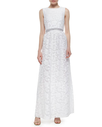 Sleeveless Popover Lace Gown