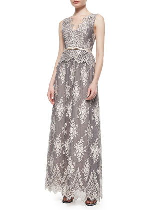 Sleeveless Lace Belted Gown