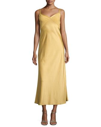 Cascade-Back Charmeuse Slip Dress, Gold