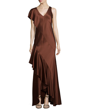Silk Slip Gown with Back Cascade