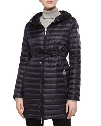 Barbel Hooded Down-Fill Knee-Length Jacket, Navy