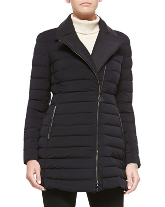 Noues Wool-Inset Puffer Jacket, Navy