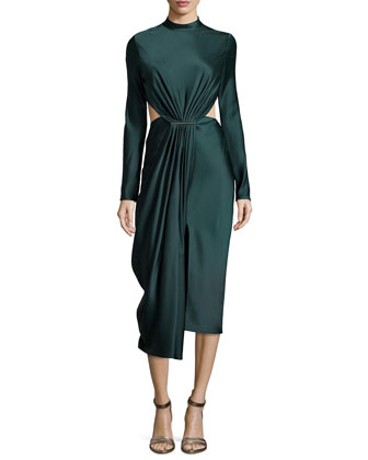 Long-Sleeve Cocktail Dress with Cutouts