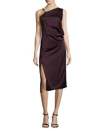Asymmetric Draped Combo Midi Dress, Eggplant