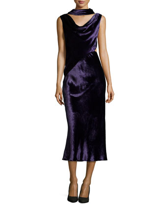 Velvet Dress with Draped Neckline