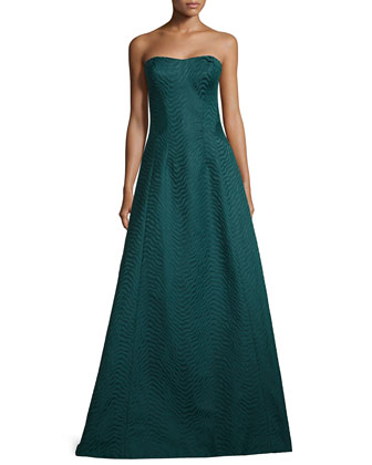 Strapless Wavy-Jacquard Ball Gown
