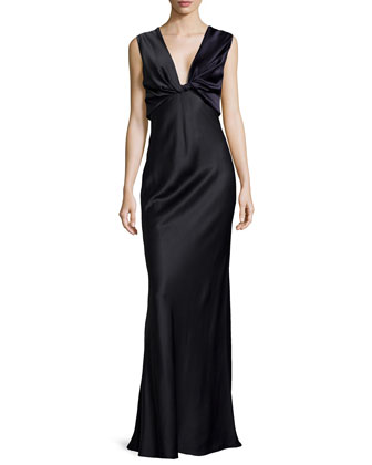 Deep V-Neck Fitted Satin Gown