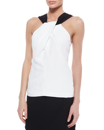 Twist-Front Crepe Top