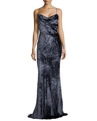 Printed Jacquard Bias-Cut Slip Gown