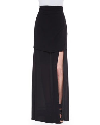 Crepe Double-Layer Wrap Skirt