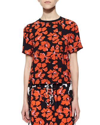 Joan Floral-Print Silk Top