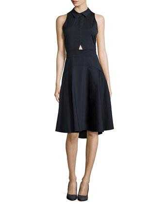 Santo Sleeveless Poplin A-Line Dress