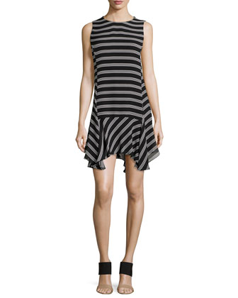 Myron Striped Uneven Silk Dress