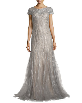 Short-Sleeve Beaded Gown W/ Godet Skirt
