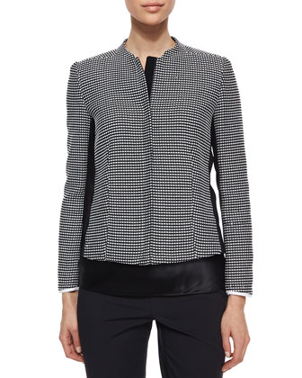 Marcy Geometric-Print Zip-Front Jacket