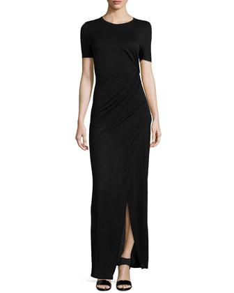 Magali Gathered Jersey Maxi Dress