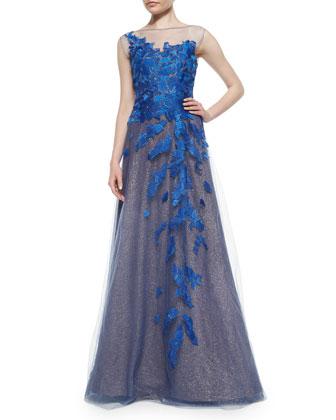 Sleeveless Illusion Petal Applique Gown