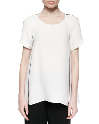 Kate Short-Sleeve Bell-Shape Blouse