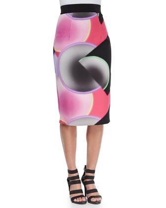 Glow-Print Bustier Top & Glow-Print Pencil Skirt