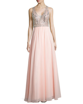 Sleeveless Beaded Chiffon Gown, Soft Peach
