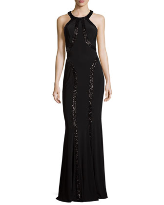 Sequin-Trimmed Chiffon Gown, Black