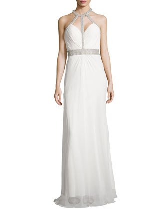 Beaded Open-Back Chiffon Gown, Ivory