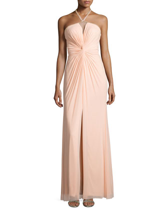 Grecian-Halter Chiffon Dress, Soft Peach